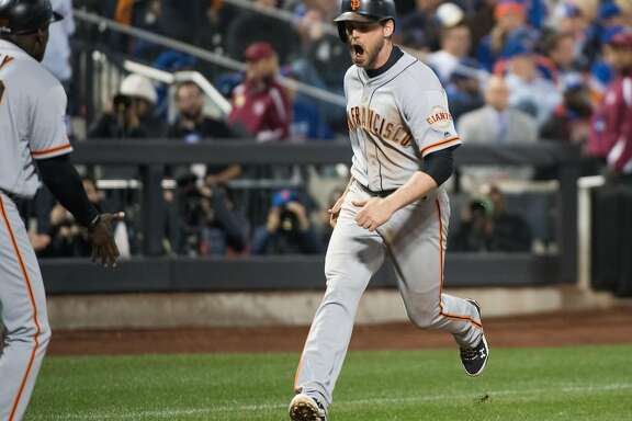 San Francisco Giants third baseman Conor Gillaspie (21) hits a three run home run in the 9th inning the NL Wild Card Playoff game between the New York Mets on Wednesday, October 5th, 2016.