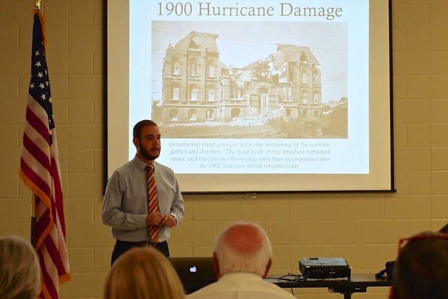 Andrew Gustafson is curator of the Bryan Museum in Galveston, Texas. The Bryan Museum opened in July 2015 and contains some 70,000 items collected by J. P. Bryan since 1966, most related to Texas and the history of the West. Gustafson is shown here speaking Monday night, Oct. 19, at the quarterly meeting of the Liberty County Historical Society. Photo: Casey Stinnett