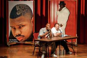 K-Rino, (left) and Steve Fournier, speak during the Awready!: Houston Hip Hop Conference at the University of Houston, Wednesday, March 28, 2012, in Houston.  The University of Houston recently acquired the DJ Screw archives, giving its special collections section of its library a great foundation for research on Houston hip-hop.  Guest speakers spoke about the pioneers and the culture of rap in Houston.   ( Michael Paulsen / Houston Chronicle )