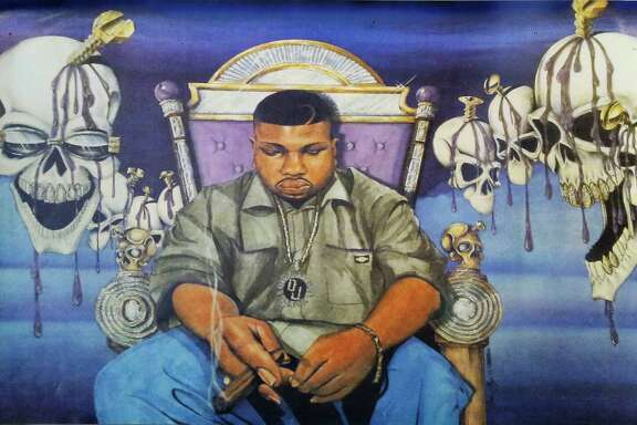 Robert Earl Davis, aka DJ Screw, did only a few interviews during his short life and was seldom photographed. This poster of the musician is at Screwed Up Records and Tapes on Fuqua.