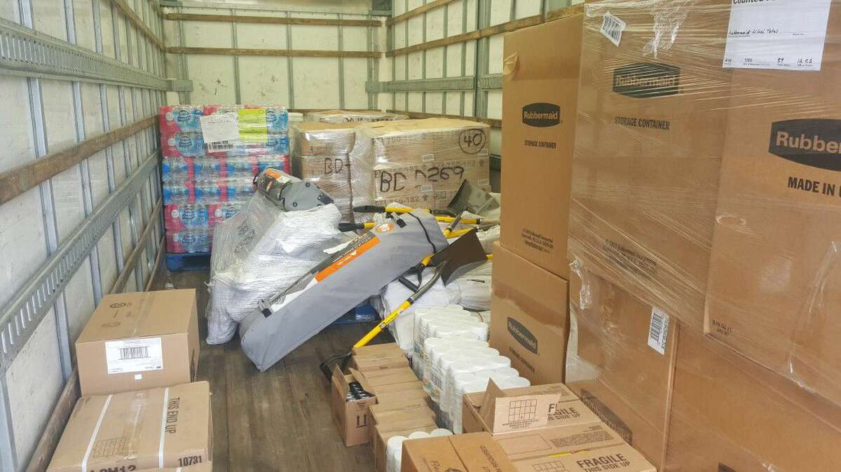 The American Red Cross temporary distribution center at Foster Elementary is stocked with enough supplies to accommodate approximately 75 families Friday, June 3.