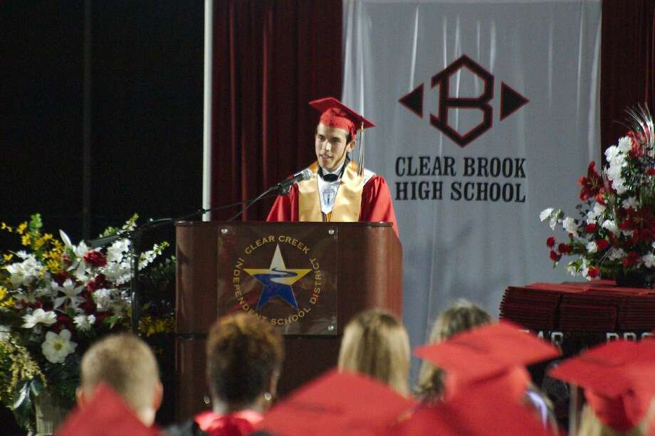 Clear Brook Valedictorian Matthew Walton speaks during Clear Brook High School commencement Friday, June 3.