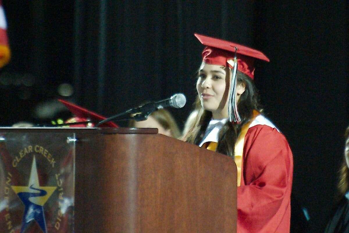 Clear Brook Salutatorian Ashley Alvarez speaks during Clear Brook High School commencement Friday, June 3.