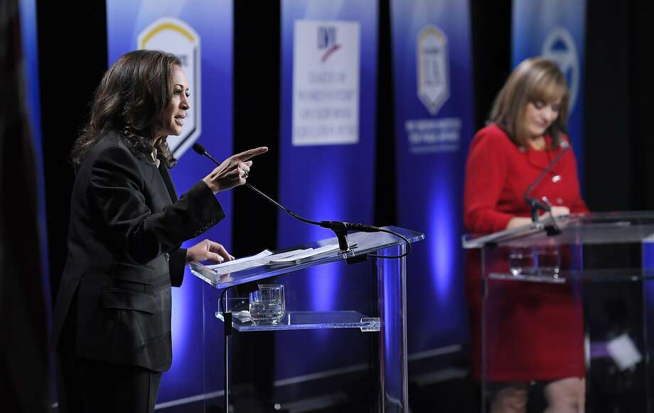 The debate between U.S. Senate candidates Kamala Harris (left) and Loretta Sanchez failed to inspire. Photo: Mark J. Terrill, Associated Press