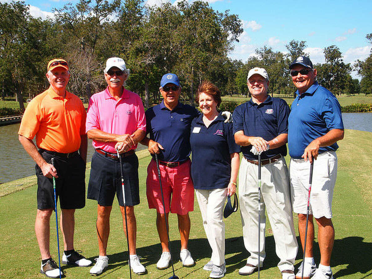 This year's tournament was a sellout with many of the allotted 20 teams filled by Joe Gillen of Pinnacle Financial Strategies and Stan Paur, retired CEO of Chief Executive Officer of PULSE EFT. (left to right) Alan Ashby, Bud Baker, Stan Paur, Dorothy Gibbons, Ted Clark, Joe Gillen