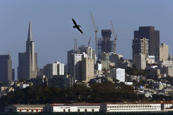 The Transamerica Pyramid will soon lose its 46-year title as the tallest building in San Francisco. The honor instead will go to the currently under construction Salesforce Tower, (right center) as seen from Fort Baker on Wed. Oct. 5, 2016, in San Francisco , California.