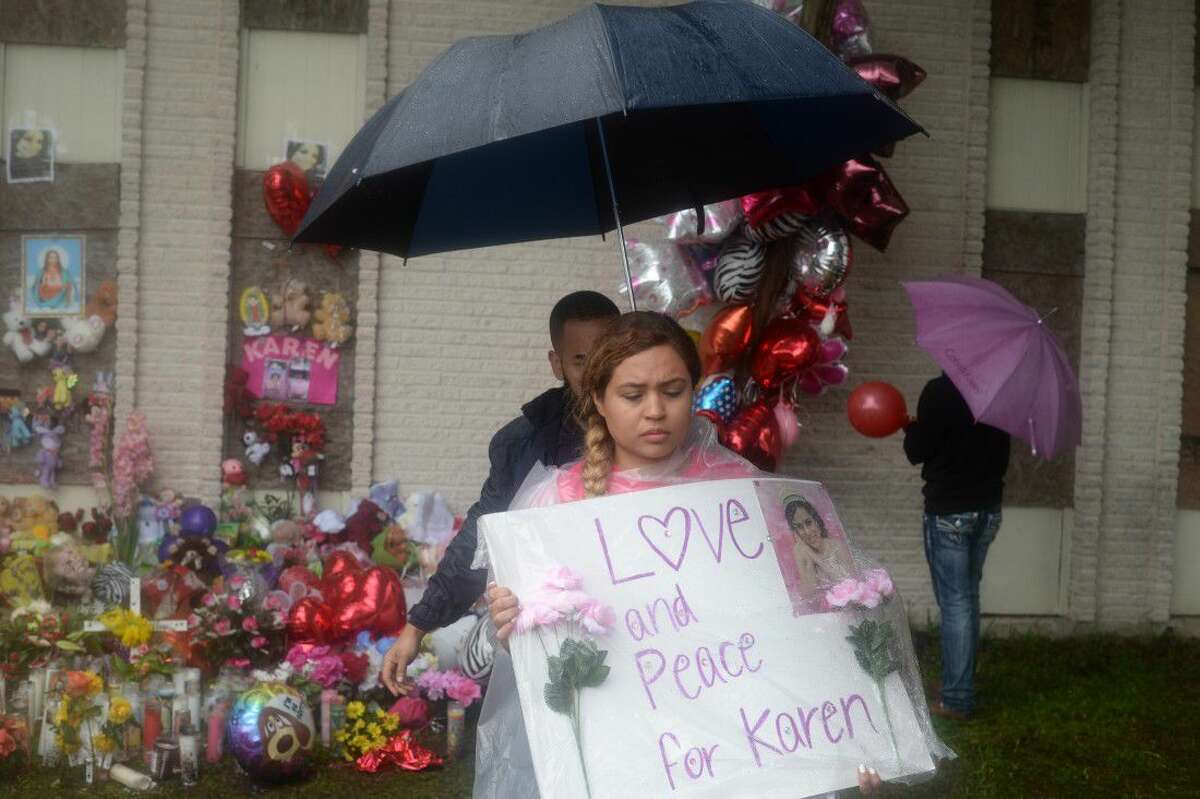 Members of Perez' family paid tribute to a memorial site at the apartment complex where her body was found.
