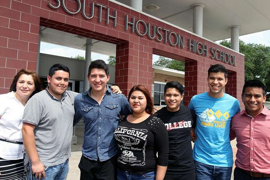 Pictured from left to right: Myrna Alanis ESOL 1 teacher, Ulises Luna, Abraham Madrigal, Celeste Contreras, Edgar Guevara, Mauricio Galvan, Miguel Fierro ESOL 2 teacher.