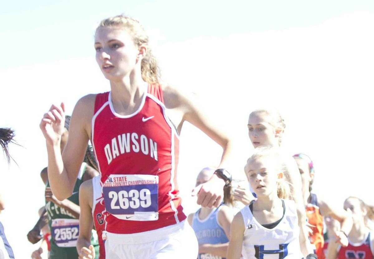 Pearland Dawson's Abbie Harrelson competes in the UIL State Cross Country Championships in Round Rock Saturday.