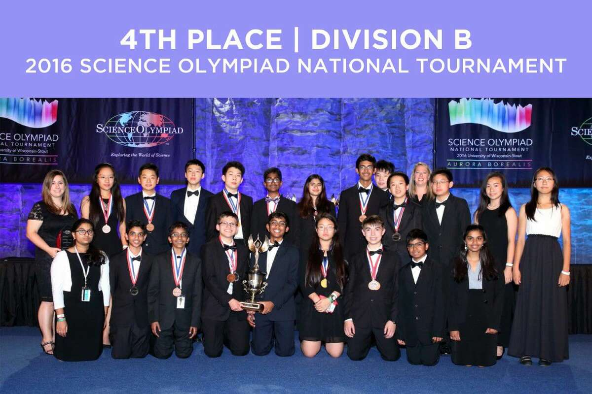 Beckendorff Junior High's National Olympiad team following the competition. BDJH's team competed against the top 60 middle school teams in the nation, finishing fourth overall and top 10 in 13 individual events, including three first-place finishes.