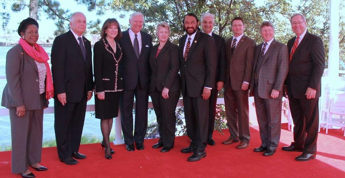 Congresswoman Sheila Jackson Lee, Congressman Gene Green, Janiece Longoria, Ned Holmes, Mayor Annise Parker, Congressman Al Green, Matt Aguiar, Jack Morman, Judge Ed Emmett and Tom Kornegay.