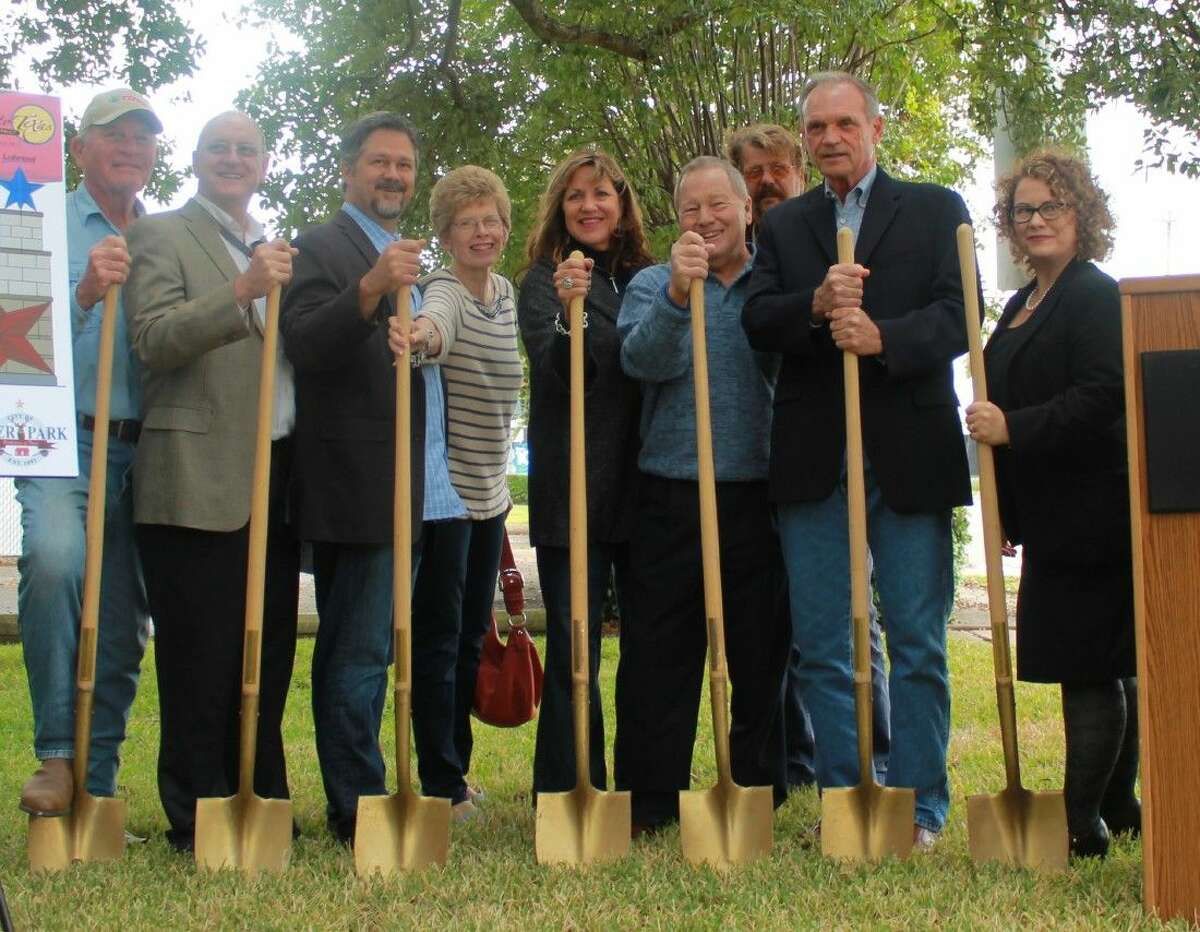 Councilmember Bill Patterson, Johan Zaayman with Shell, Mayor Mouton, Councilmembers Rae Sinor, Sheri Garrison and Thane Harrison, Joe Collings with DT Construction, Chris Hext with Lubrizol and Tamara Nicholl-Smith with Economic Alliance symbolically break ground on the project.