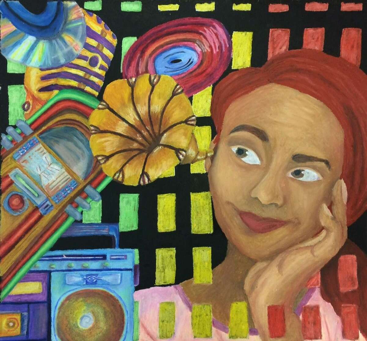 Cypress Springs senior Rechanne Waddell's artwork will be represented by a group of Panther students in the Via Colori street painting festival.