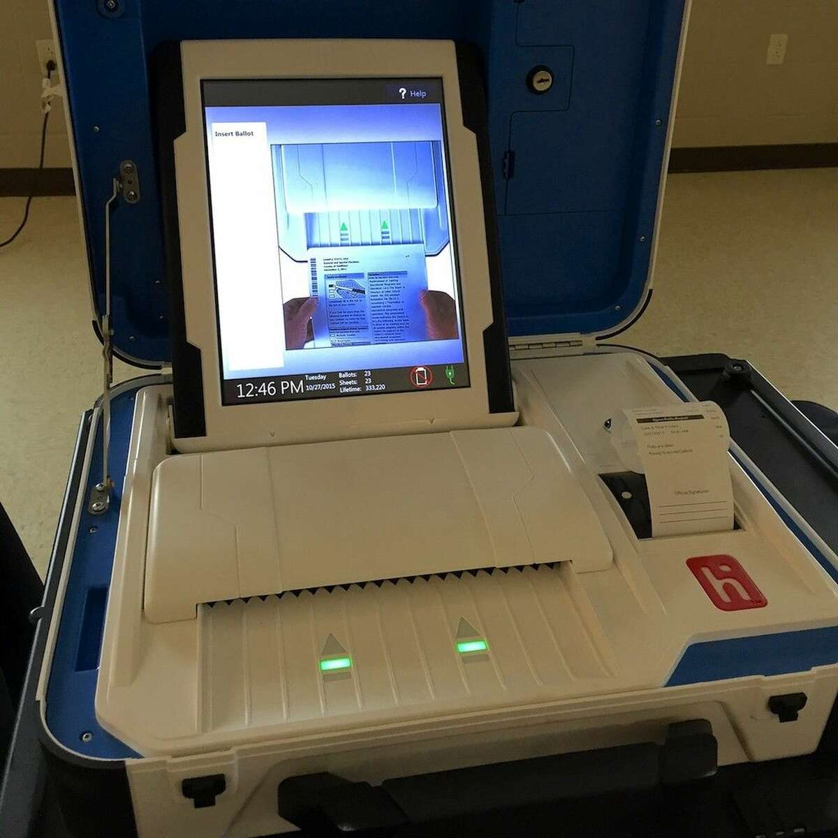Hart InterCivic will soon offer two electronic voting systems, one shown here prints a paper ballot, the other is all electronic.