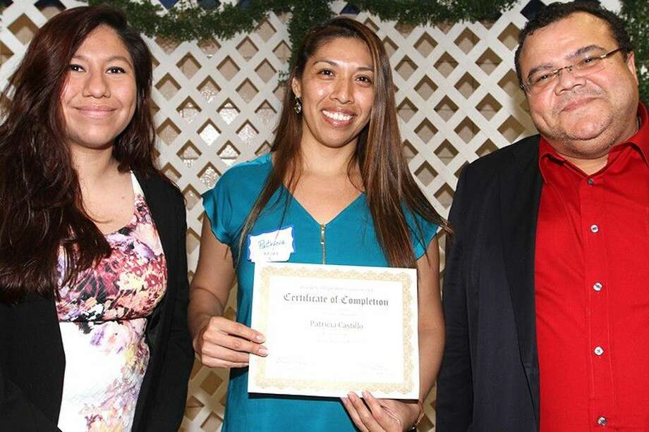 Patricia Castillo, Bailey parent, shows off her certificate of completion.