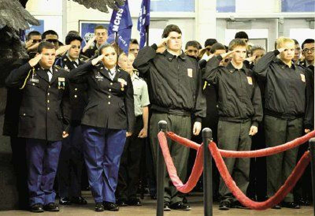 Students in the New Caney High School JROTC honored local veterans with a Veterans Day Ceremony Nov. 11.