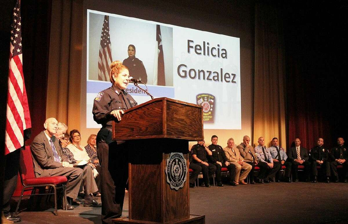 The 106th Law Enforcement Academy Class President Felicia Gonzalez, of Houston, delivers the Commencement address during a graduation ceremony on May 25.