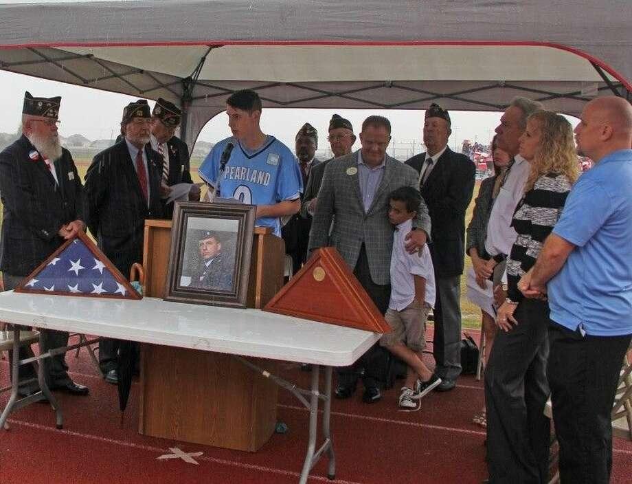 Adam Hart of the Turner Lacrosse Club spoke during the presentation ceremony. Photo: Kristi Nix