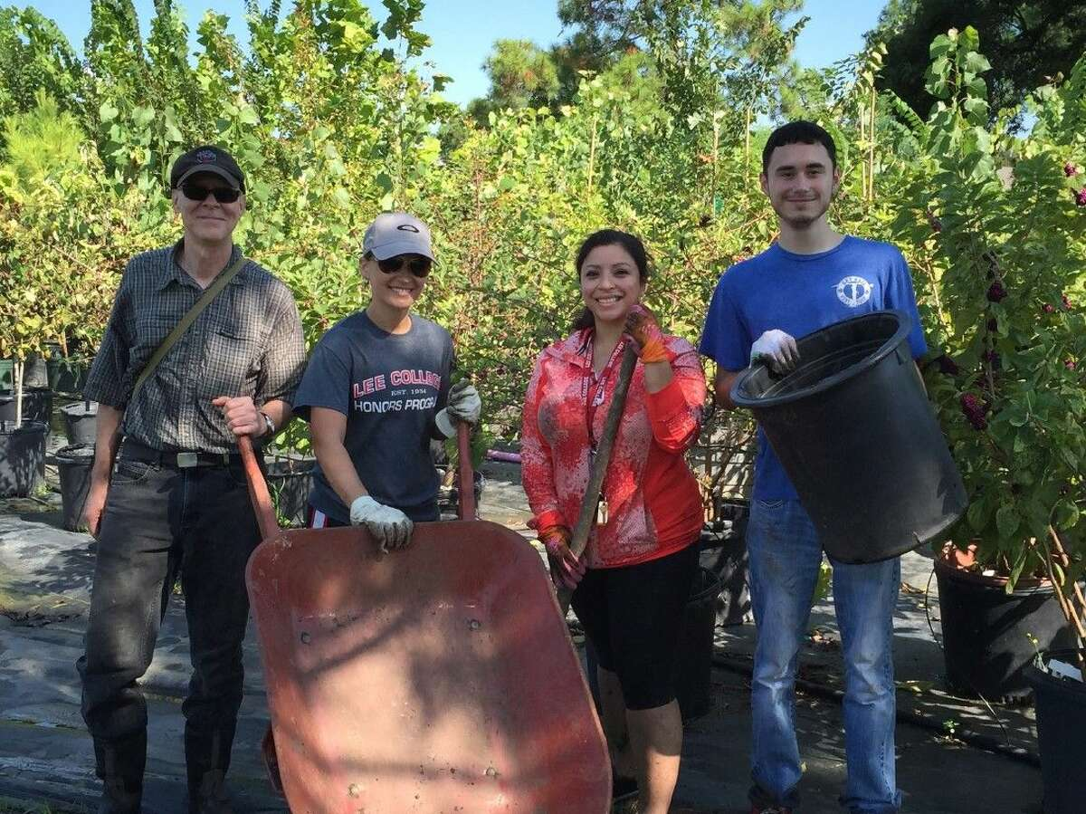 Students in the Lee College Honors Program are volunteering their time this semester at local nature centers, including the Exploration Green tree nursery in Clear Lake. Pictured from left to right are instructor and certified Texas Master Naturalist Jerry Hamby; instructor and Honors Program coordinator Georgeann Ward; and Honors Program students Maryori Portillo and Adam Naiser.