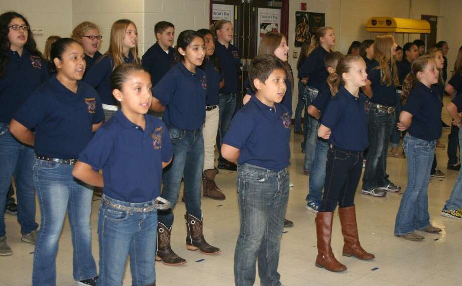 Members of the Greenleaf Elementary Flag Corps led the students and staff in a ceremony for Veterans Day on Nov. 11. Photo: Stephanie Buckner
