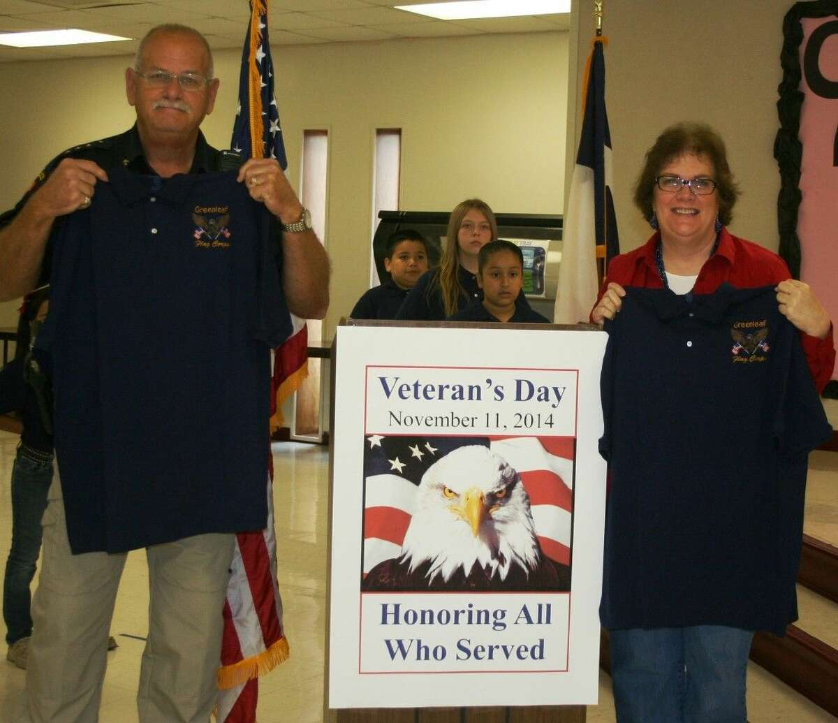 Splendora ISD Chief Dennis Doerge and Greenleaf Elementary Principal Dr. Carolyn King were recognized on Nov. 11, during a Veterans Day ceremony.