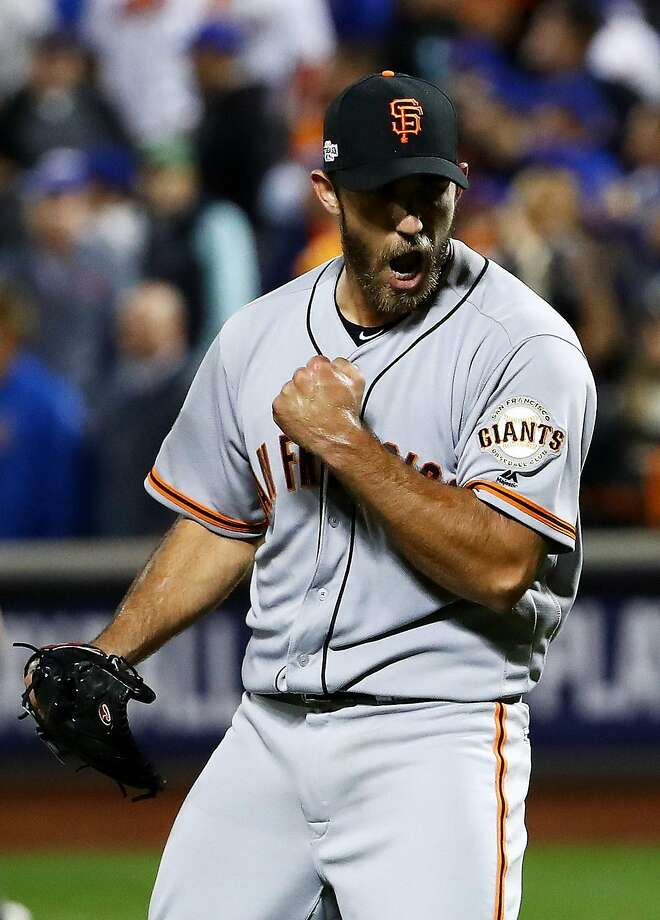 Madison Bumgarner of the San Francisco Giants celebrates their 3-0 win over the New York Mets during their National League Wild Card game at Citi Field on October 5, 2016 in New York City.  Photo: Al Bello, Getty Images