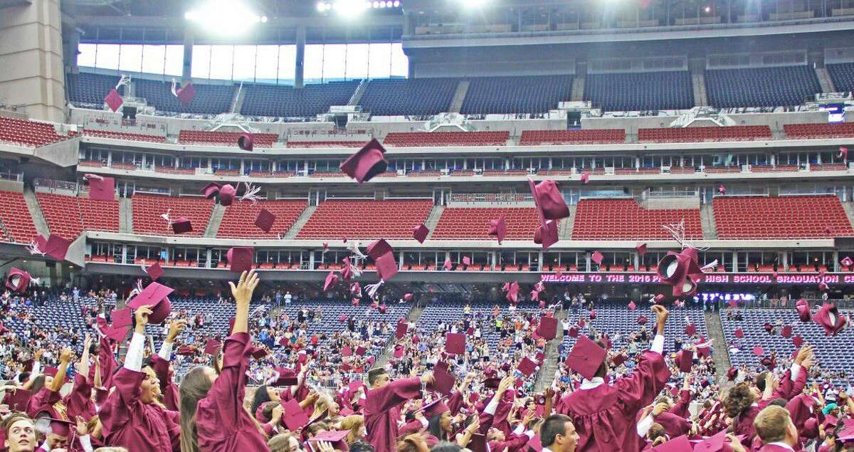 Members of the Pearland High School Class of 2016 celebrate at the close of the Commencement Ceremony.