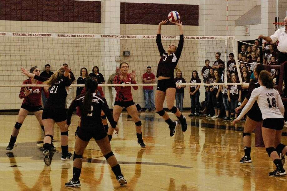Tarkington setter Madison O'Brien (3) is the 2014 District 23-4A All-District MVP, and here she is setting the ball for All-District honorable mention Sara Scott (21). Also seen here in the foreground are Newcomer of the Year Patience Sizemore (2) and co-defense Player of the Year libero Hattie Lang (12). On the other side of the net are Second Team All-District Ryan Drvenkar (14) and honorable mention Megan Unroe (13) of Huffman. Photo: Casey Stinnett