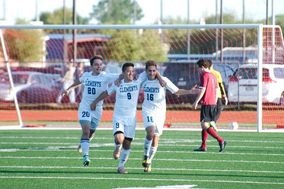 Clements' Santiago Torres (20) and Ahmad Elsaadi (16) congratulate Stephen Martinez (9) after scoring a goal against Clear Creek during the 2015 postseason. Elsaadi and Martinez were all-District 23-6A first-team selections, with Martinez receiving TASCO regional honors.