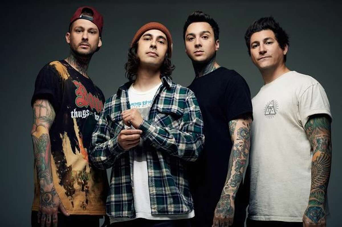 Mike Fuentes, left, Vic Fuentes, Tony Perry and Jaime Preciado, of Pierce the Veil, will be at the House of Blues on June 21.
