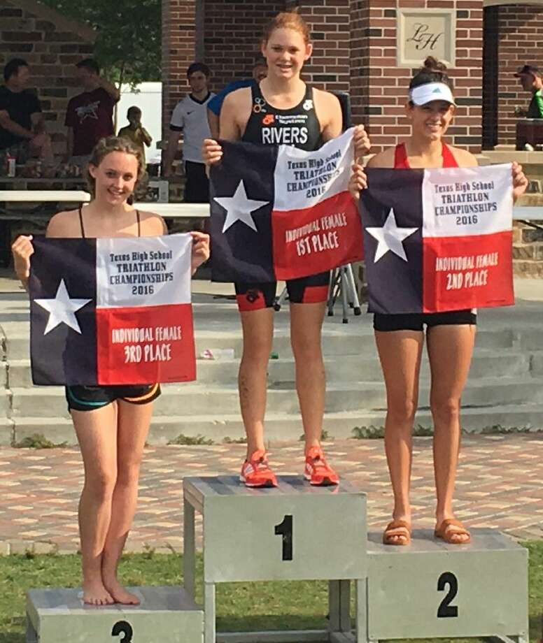 The 2016 Texas High School Triathlon Championships were held May 14 at Bridgeland in Cypress, with championships awarded in five categories. The top three individual girls were Rebecca Rivers (Elgin), Mabel Fowler (Uvalde) and Finley Quinn (Cinco Ranch). Photo: Submitted Photo