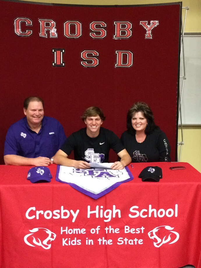 Crosby senior Austin Hearn signed his national letter of intent to play baseball at Stephen F. Austin University at a ceremony held at Crosby High School on Thursday.