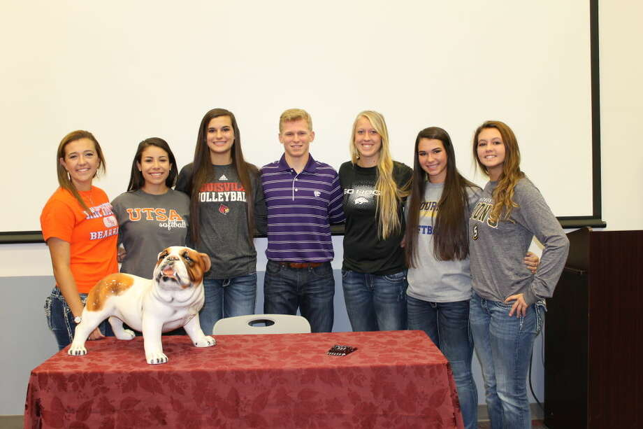 Seven Magnolia High School seniors signed National Letters of Intent to play college sports. Pictured left to right, Codi Carpenter, Softball, Sam Houston State University, Hailey Garza, Softball, Univ. of Texas San Antonio, Morgan Miller, Volleyball, Univ. of Louisville, Michael Smith, Baseball, Kansas State University, Cori Cooper, Softball, Univ of Arkansas, Madison Moyahan, Softball, LeTourneau University, Taylar Fuselier, Softball, Southeastern Louisiana University. Photo provided by Magnolia High School.