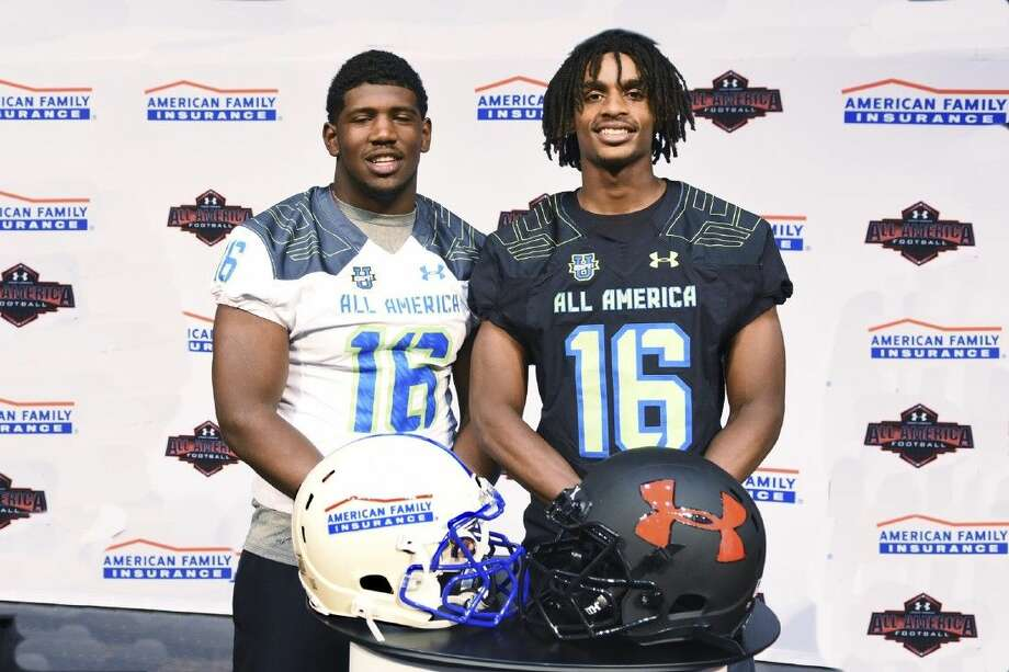 Westfield defensive lineman Ed Oliver (in white) and wide receiver Tyrie Cleveland (in black) will play in the Under Armour All-American Game Jan. 2, 2016 at the Orlando Citrus Bowl. Photo: Tony Gaines