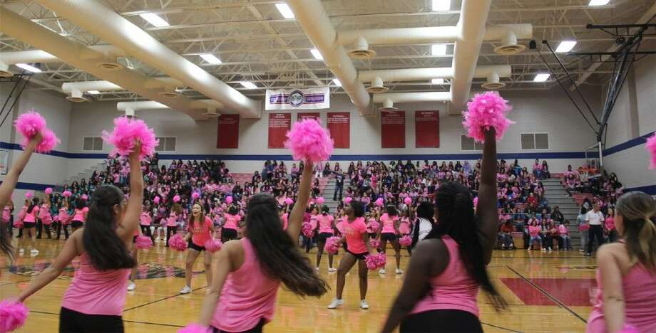 Cypress Springs students wear pink at the all-girl pep rally on Nov. 7 celebrating Girl Empowerment Week. Photo: Margot Oyuela