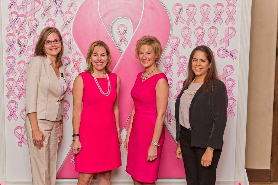 Debra Sukin, CEO of Houston Methodist The Woodlands Hospital and regional senior vice president Houston Methodist (far left), introduces Barbara Feigin, co-owner of Main Street America and breast cancer survivor; Magda Ghobashy, MD, breast radiologist and medical director, Houston Methodist Breast Care Center at The Woodlands; and Loren Rourke, MD, FACS, breast surgical oncologist and Houston Methodist regional breast program director, stress the importance of early detection and regular breast exams.,