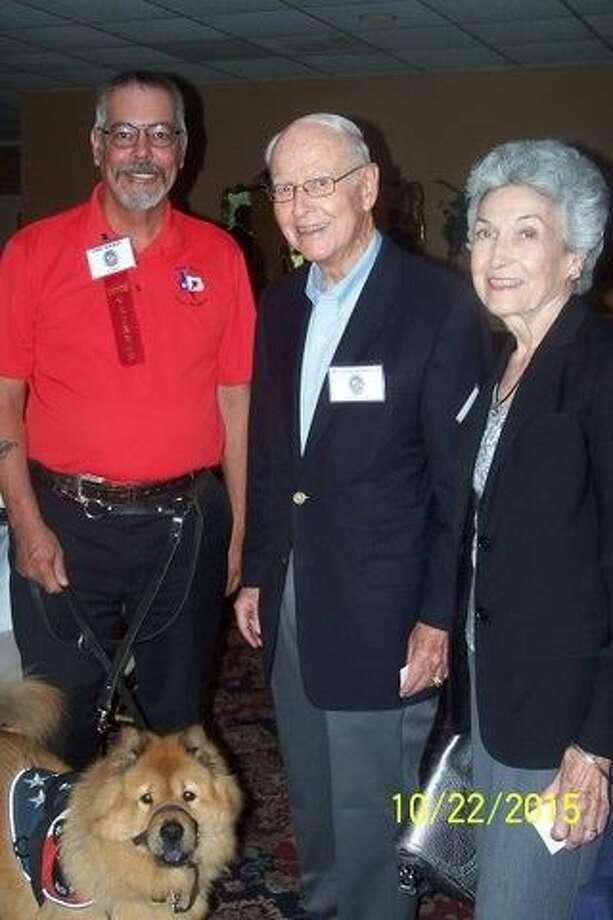 Dr. Wally Wilkerson, middle, poses with his wife Neddie Jane and Phil Haikey during the Montgomery County Republican Women's meeting on Oct. 22. Haikey founded Lone Star Battle Buddies in support of veterans and active duty servicemen and women. Photo: Picasa