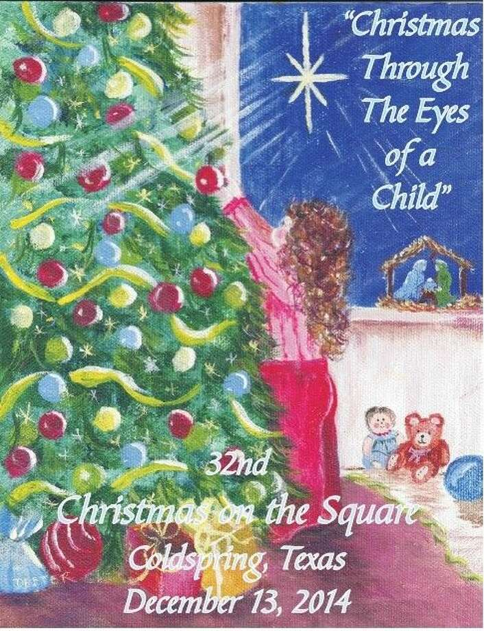 This image will be used to represent the theme for Christmas on the Square in 2014: Christmas through the eyes of a Child. The image will be on the T-shirts that can be ordered for the event and a similar image will be used for the special postmark at Coldspring Post Office. Photo: Jacob McAdams