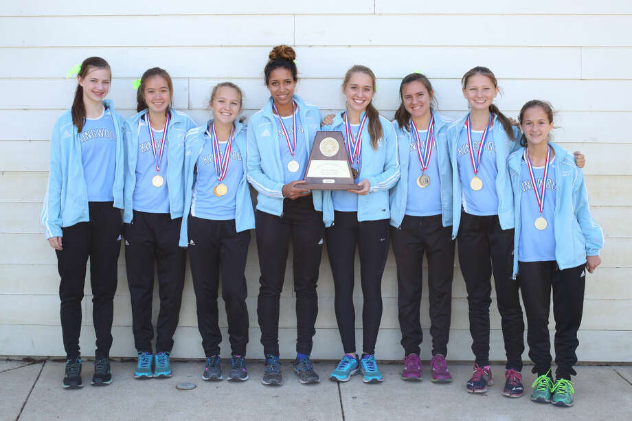The Kingwood Mustang girls captured the Region 2 6A Cross Country Championship on Monday.  From left: Sarah Antrich, Amy Berg, Erin Gallagher, Jasmine Amo, Olivia Thompson, Abby Guidry, McKenzie Clark, and Jessica Hergott.