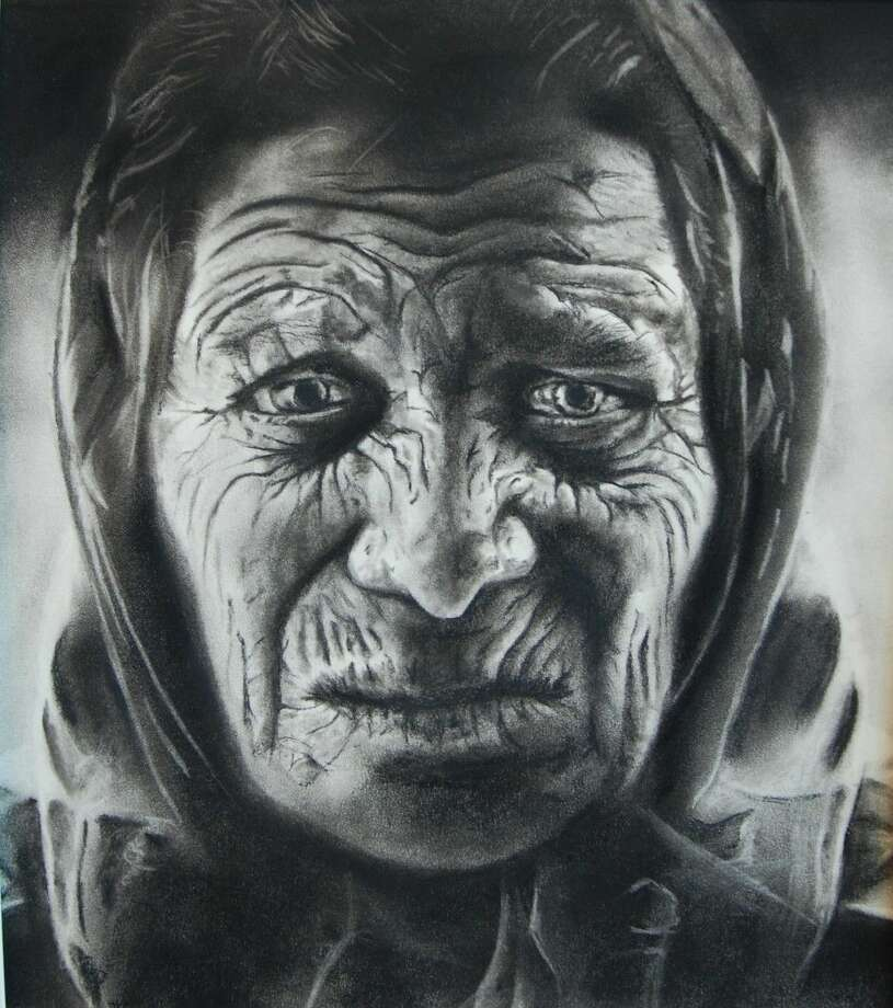 "Stephanie Ramirez's charcoal and pencil piece entitled ""Elder."" Photo: Picasa"
