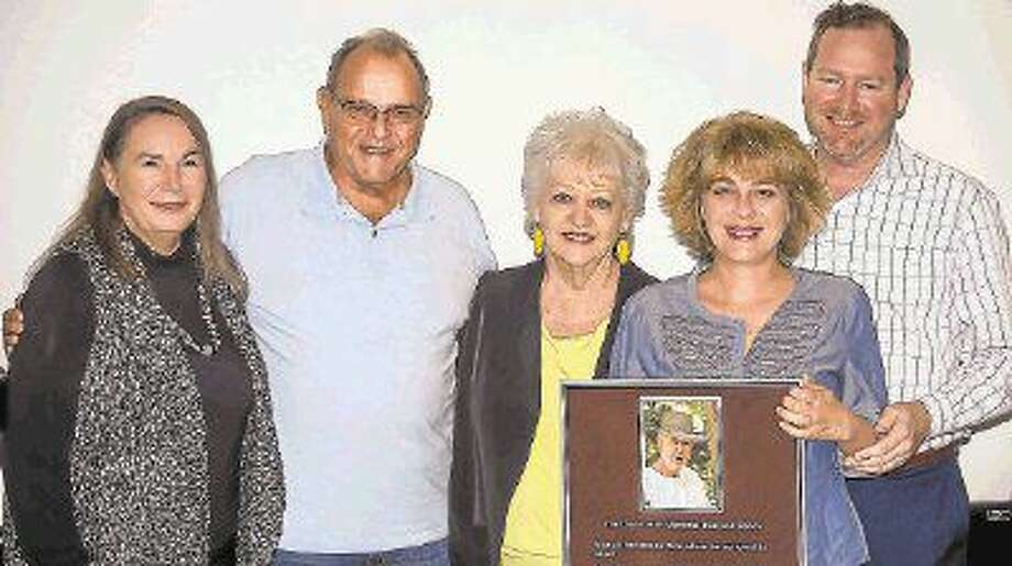 Plaque presentation at annual meeting: Kathleen Muhle, President of KPTA; Joe Mazzarella, President of the Reserve at Kings Point CA; Charlotte Rich, Tracy Rich Brown and Christopher Rich.