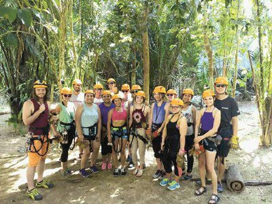 Lee College Study Abroad students and faculty prepare to zip line through the rainforest during their 8-day trip this summer to the Central American nation of Belize. The program, which allows students to experience another country while also earning credit for their Lee College degree, will host trips to China and Costa Rica in 2017.