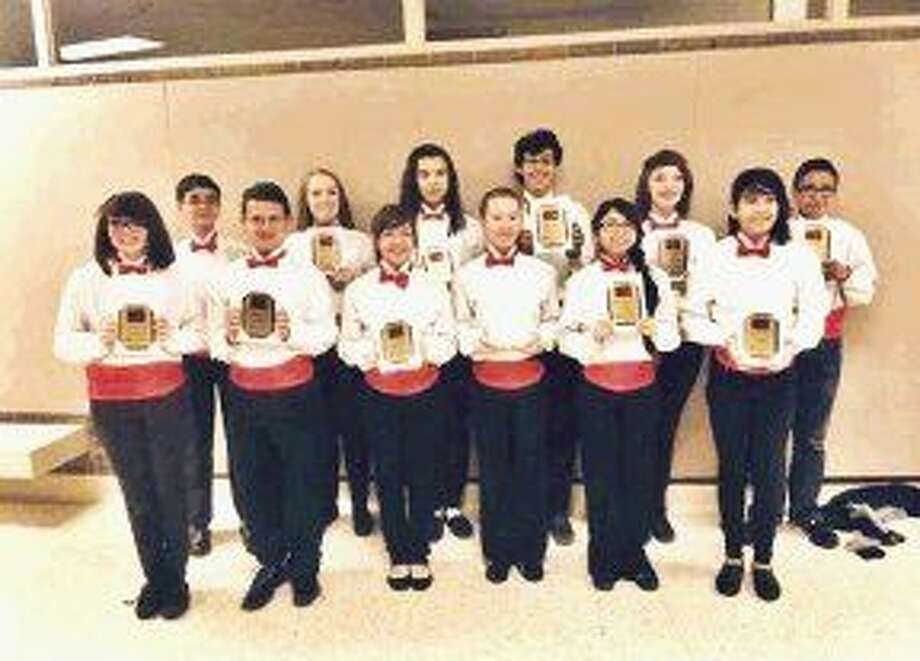 Crosby Middle School students at TMEA Region Band concert. Front: (l to r) Mollie Potter, Joey Bush, Valeria Flores, Kaitlyn Freeman, Mariana Moctezuma and Mercedes Garcia. Back: Dayton Berezoski, Shelby Skinner, Jada Rivon, Trey Gardner, Rachel Knapp and Abel Gomez. Not pictured: District band member Damon Butler.