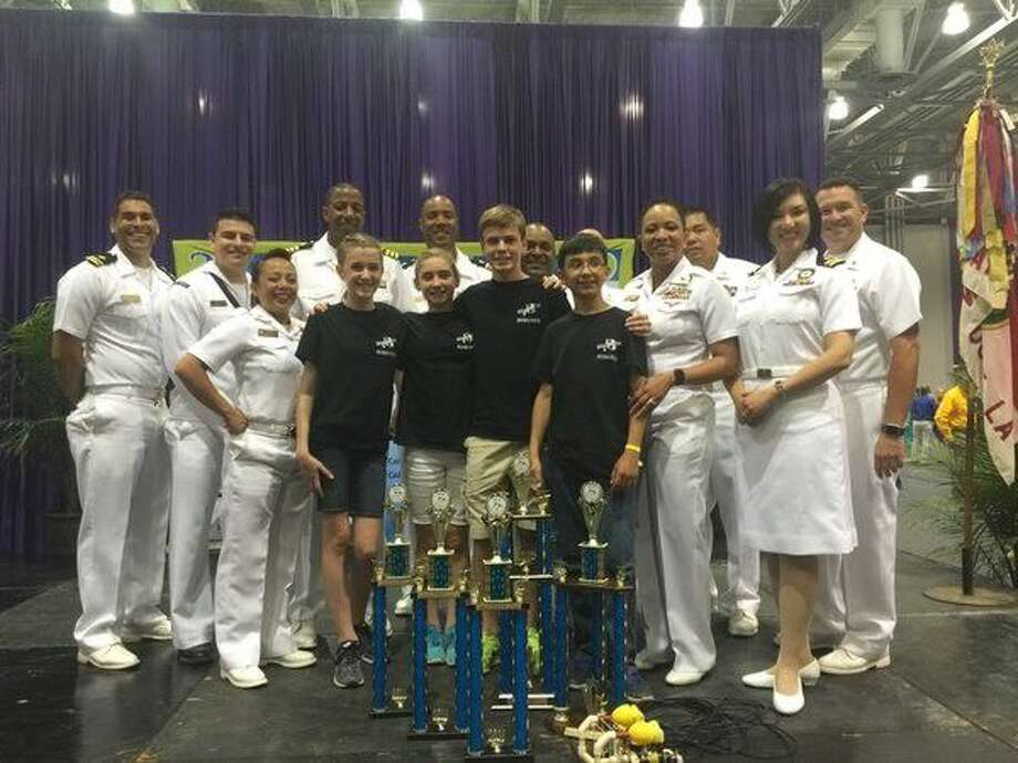 Harby JH Sea Crabs pose with their trophies at the National Sea Perch Challenge.