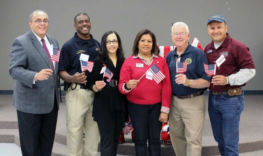 Ron Norsworthy, Senior Trust Alliance; Eric Robins, Fort Bend Seniors' board member; Dorine Craig, Fort Bend Seniors board member; Manuela Arroyos, Fort Bend Seniors CEO; Joe Gurecky, Fort Bend Seniors board member; and Ray Aguilar, Fort Bend Seniors board chairman. Photo: Submitted