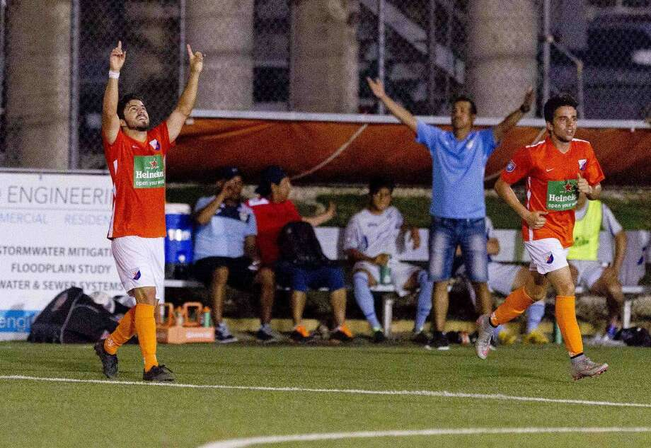 Dutch Lions forward Jose Pablo Covarrubias celebrates after scoring the tying goal of a NPSL game against San Antonio Thursday. Go to HCNpics.com to view more photos from the match.