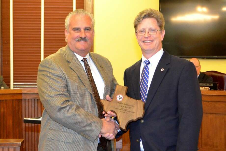 Michael Shannon of TACERA (left) and Fort Bend County Road and Bridge Commissioner Mark Grant. Photo: Submitted