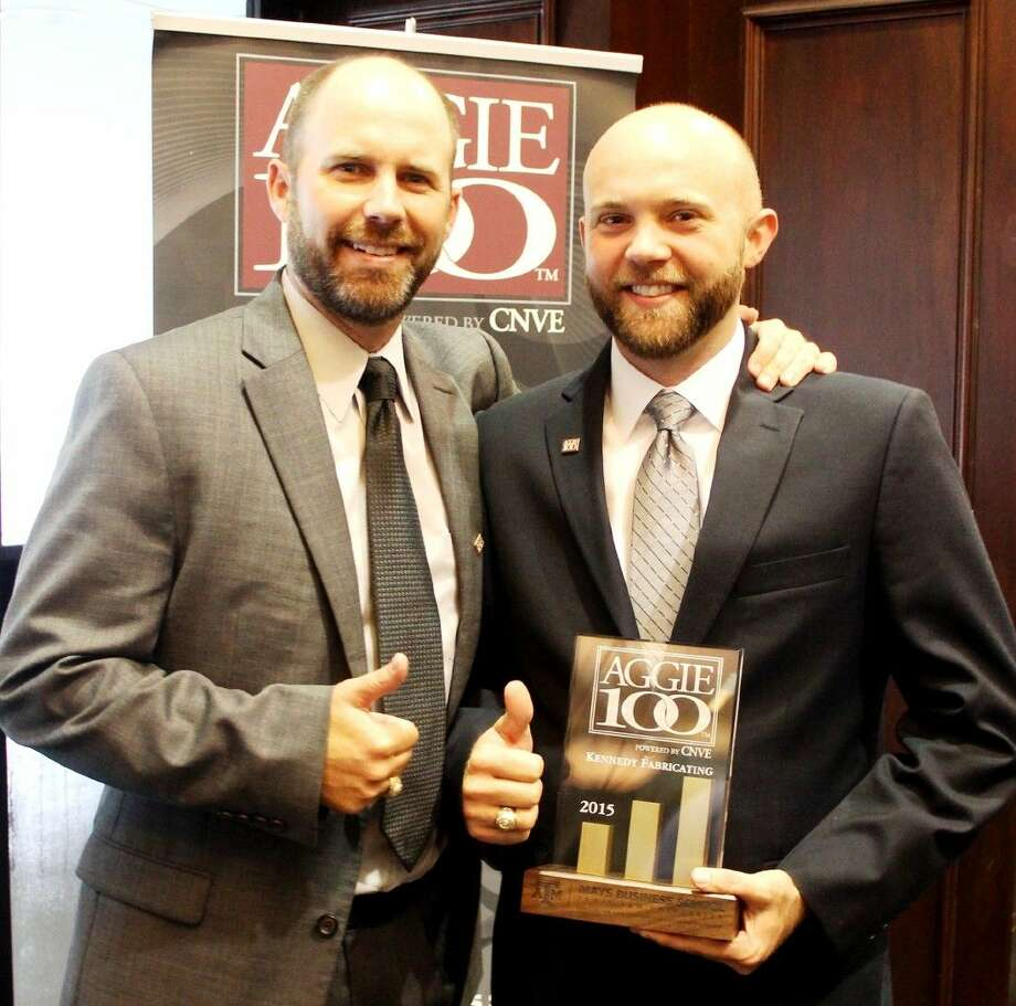 """Kevin Kennedy (left) of Kennedy Fabricating, Inc. and Manager Kenneth """"Bud"""" Kennedy were among those honored with the Aggie 100 award. This marks the third consecutive year that the company has been named on the prestigious list. Photo: Submitted"""
