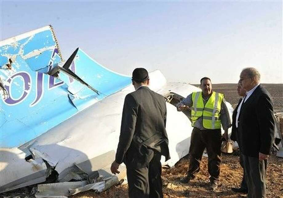 A Russian aircraft carrying 224 people, including 17 children, crashed Saturday in a remote mountainous region in the Sinai Peninsula about 20 minutes after taking off from a Red Sea resort popular with Russian tourists, the Egyptian government said. There were no survivors. Photo: Suliman El-Oteify