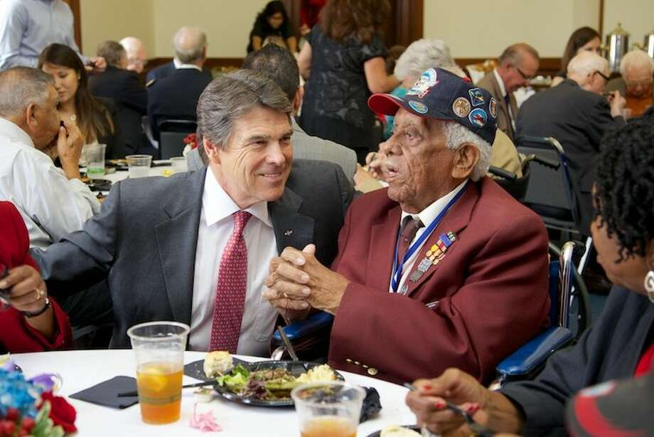 May 8 was a special day for everyone in the Capitol, as Texas veterans of World War II were recognized by the Texas Senate and House, followed by a commemorative reception in the governor's office. The day marked the 68th anniversary of VE Day, the day the war ended in Europe.